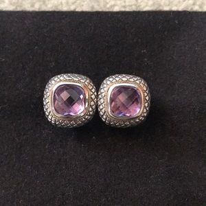 Amethyst earring. Sterling with 14k gold